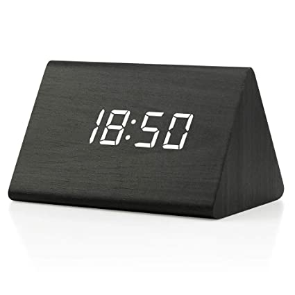 896ee0f80dc1 GEARONIC TM Modern Triangle Wood Clock Digital LED Wooden Alarm Clocks  Digital Desk Thermometer Classical Timer