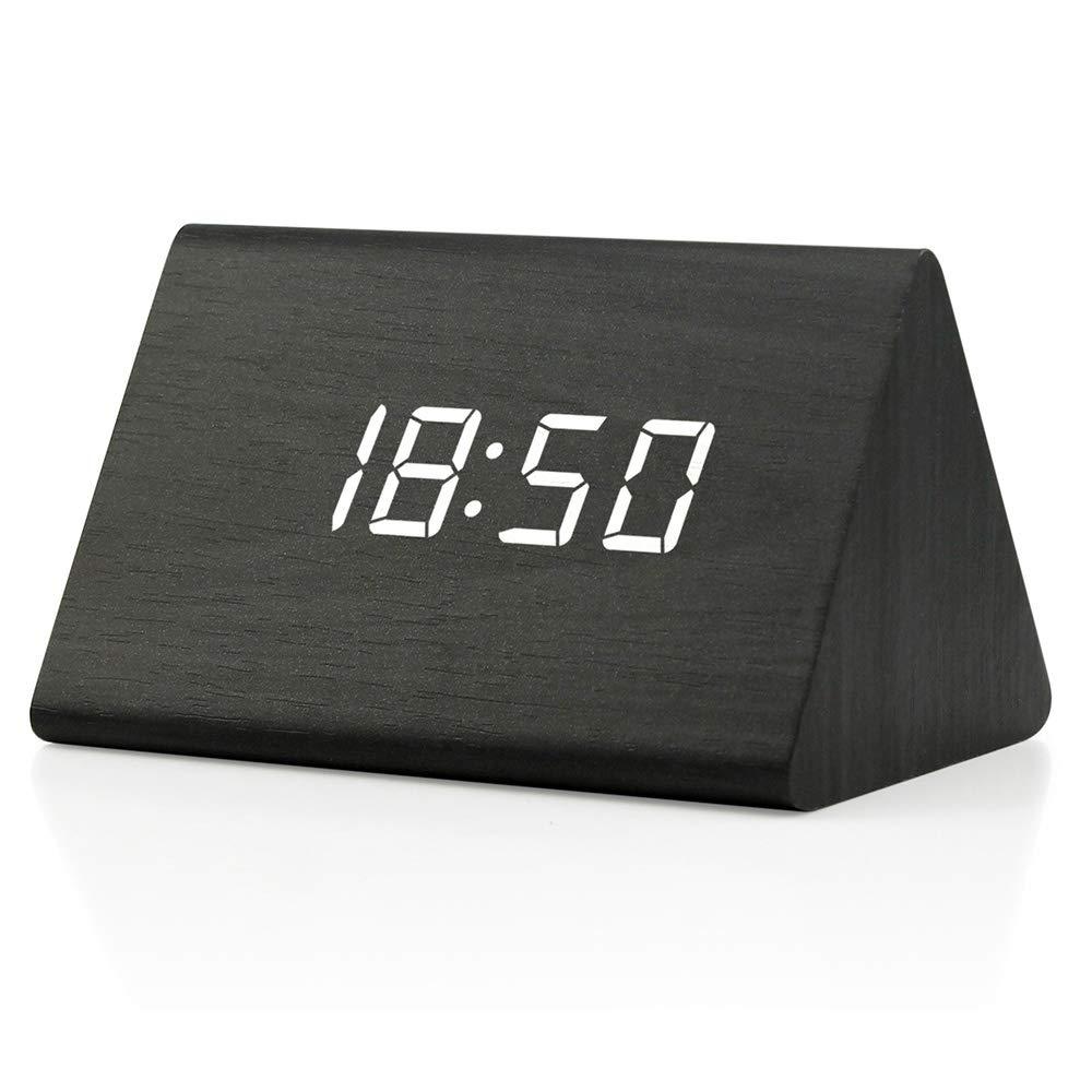 Oct17 Wooden Wood Clock, 2018 New Version LED Alarm Digital Desk Clock 3 Levels Adjustable Brightness, 3 Groups of Alarm Time, Displays Time Date Temperature - Black (White Light)