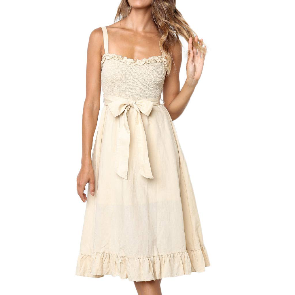 CHLZYD Women Soild Bow Tie Off Shoulder Sleeveless Lady Sling Bodycon Ruffle Dress Beige
