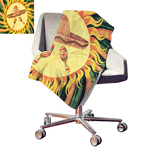 (Custom homelife Mexican Print Summer Quilt Comforter Ethnic Sombreno Hat and Maracas in The Centre of Sun Figure Hippie Style Boho Home Throw Blanket Multicolor Bed or Couch 70