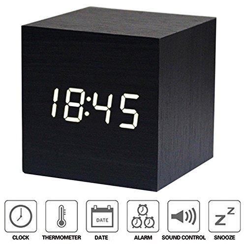 1b0636ba5c image Réveil XAGOO Réveil Matin Horloge Digital Cube avec Activation Vocale  Réveil Numérique de Voyage LED