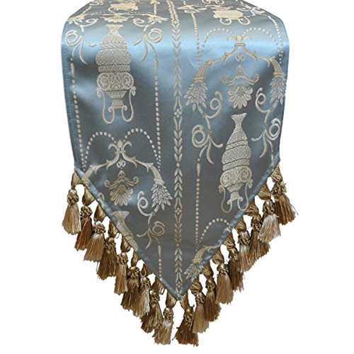 The Classic Spa Blue Sherry Kline Elizabeth 13-inch X 72 Table Runner by AytraHome
