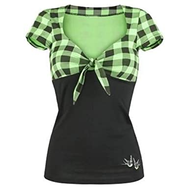 Women's Clothing Fashion Lace Up Plaid Strip Shirts Women Lattice Short Sleeve Summer Ladies Casual V-neck Cropped Blouses Women Top Various Styles