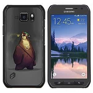 Caucho caso de Shell duro de la cubierta de accesorios de protección BY RAYDREAMMM - Samsung Galaxy S6Active Active G890A - lindo oso de dibujos animados los niños de primavera de los animales