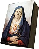 Catholic to the Max|Our Lady of Sorrows Cover 4x6.5x2.5in Wooden Keepsake Rosary Jewelry Box, Suede Matte