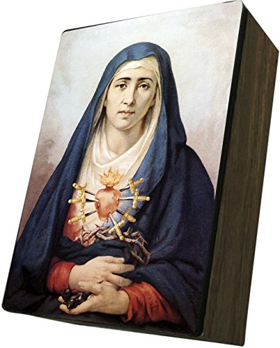 Catholic to the Max|Our Lady of Sorrows Cover 4x6.5x2.5in Wooden Keepsake Rosary Jewelry Box, Suede Matte by Catholic to the Max