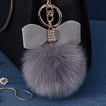 b73e99895450 Fluffy Ball Key Chain 8-10cm Cute Keychain Bag Charm Ball Fur Key Chain for  Car Key Ring (Grey)