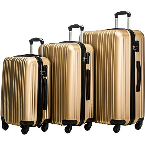 Suitcase Set (Merax Buris 3 Piece Luggage Set Lightweight Spinner Suitcase 20 24 28 (Gold.))