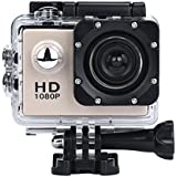 Outtop Waterproof Sports Action Camera, 1080P HD 170 Wide Angle Lens Mini Sport Camera with Protective Case (Gold)