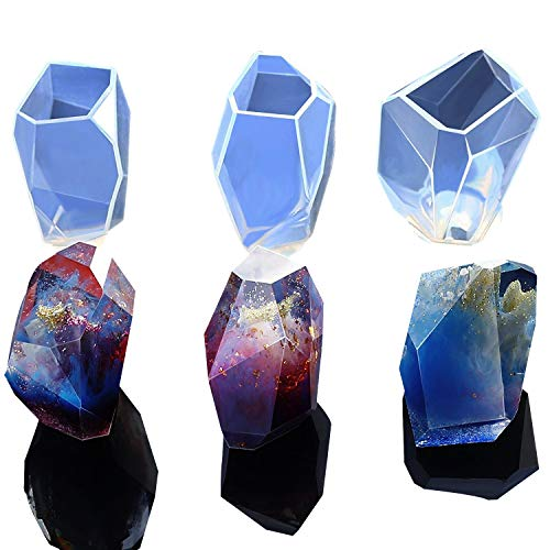 3 Shapes DIY Resin Diamond Jewelry Casting Molds, The Multi-Faceted Large Silicone Mold for Making Crafting (Quartz Mold)