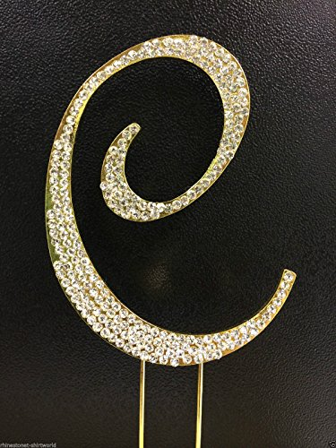 Crystal Rhinestone Covered Gold Monogram Wedding Cake Topper Letter C by other]()