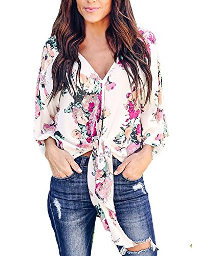 V-neck Kimono Top - Utyful Women's Summer Floral Print Tie Front V Neck Chiffon Tops Blouses Shirts Size Medium(US 8-10)