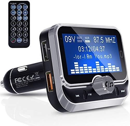 Bluetooth FM Transmitter, Clydek Universal FM Transmitter Radio Adapter Audio-Empfänger Car Kit mit Fernbedienung, Dual-USB-Ladegerät und Freisprechfunktion [1,8 Zoll Großbildschirm]