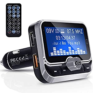 51jGEpz1XBL. SS300  - Clydek-Bluetooth-FM-Transmitter-Universal-Wireless-FM-Transmitter-Radio-Adapter-Audio-Receiver-Stereo-Music-Tuner-Modulator-Car-Kit-with-USB-Charger-Remote-Control-18-Inch-Large-Screen
