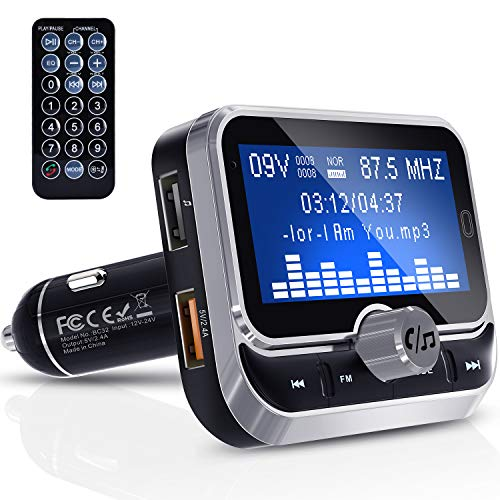 FM Transmitter, Clydek Bluetooth FM Transmitter Radio Adapter Audio Receiver Stereo Music Tuner Car Kit with Dual USB 2…