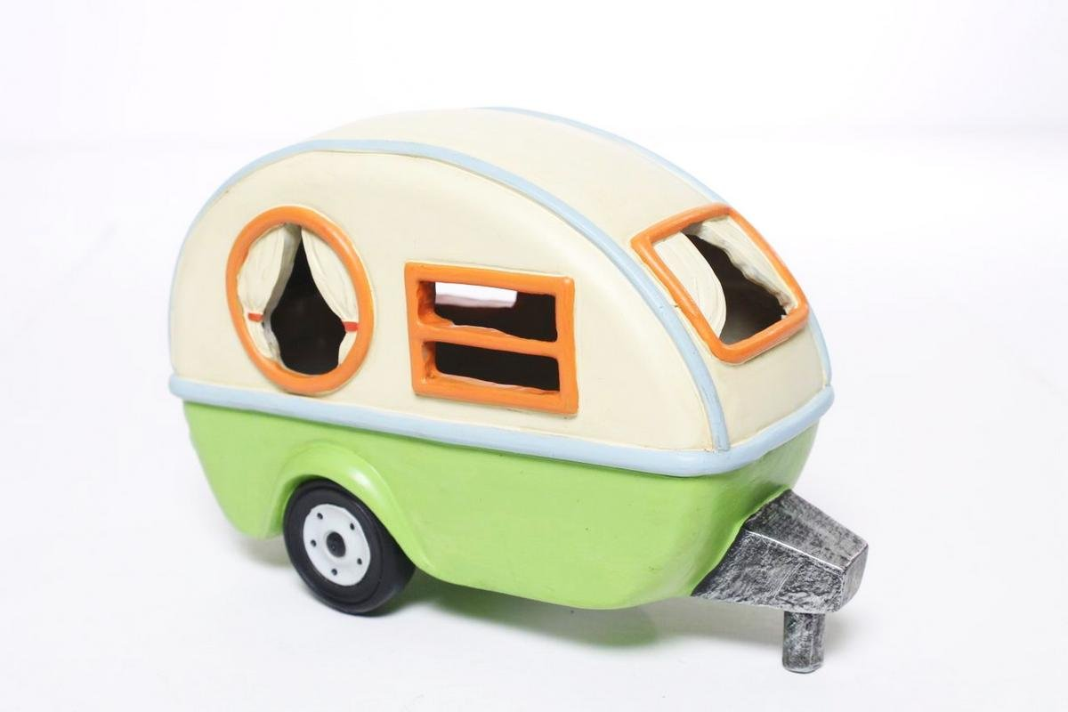 New Miniature Mini Dollhouse FAIRY GARDEN Accessories - Camping Trailer With Solar Light - Supplies Acce.