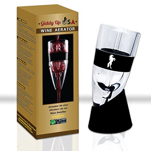 Oenophilia Glass Decanter - Professional Wine Aerator Decanter with Stand and Travel Pouch - Efficiently Aerates Red Wines