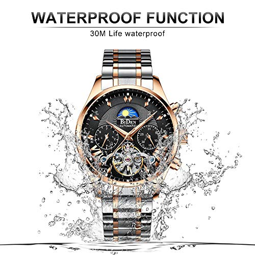Amazon.com: Fashion Automatic Mens Watches Tourbillon Mechanical Wristwatch, Luxury Luminous Skeleton Waterproof, Stainless Steel Bands in Gold-Toned: ...