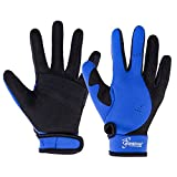 Seavenger 1.5mm Reef Gloves Stretchy Mesh with Reinforced Leather Good for Snorkeling, Kayaking, Spearfishing, Sailing, Scuba Diving, Rafting (Blue, Medium)