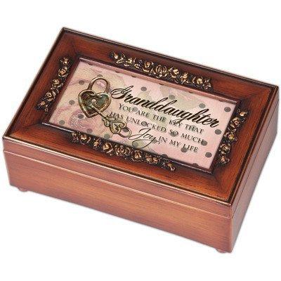 Granddaughter Joy Life Wood Finish Rose Trim Decorative Jewelry Music Box