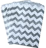 Outside the Box Papers Silver and White Chevron Treat Sacks 5.5 x 75 48 Pack Silver, White