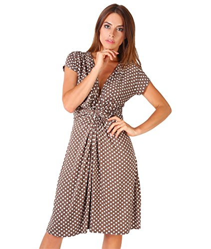 (KRISP 6488-MOC-3X Polka Dress, Mocha, UK 3X / XXX-Large,3X)