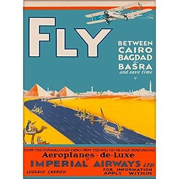 Egypt Cairo Bahgdad Karachi by Airplane Vintage Travel Advertisement Art Poster