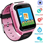 Kids Smartwatches for Boys Girls - GPS Fitness Tracker Watch for Children with Games Phone SOS Alarm Clock Camera Children Gifts Control by Parents Compatible with Smartphone (01 GM11 Pink GPS)