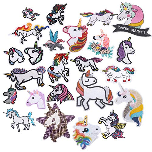 24pc Patch Unicorn Rainbow Animal Patch Iron On Patches Kids DIY Cute Sewing Embroidered Patches for Clothing