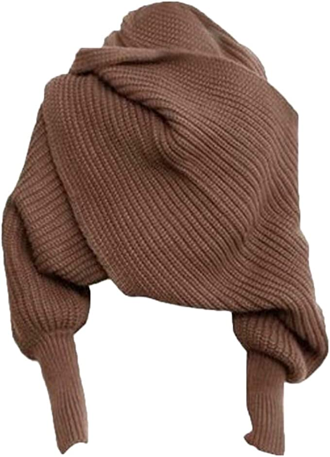 Autumn Winter Knit Blanket Long Shawl Unisex Scarf Wrap Sweater with Sleeves at Amazon Women's Clothing store