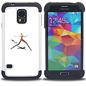 - CAT LOVE WOMAN RUNNING COLORFUL ART BLACK - - Doble capa caja de la armadura Defender FOR Samsung Galaxy S5 I9600 G9009 G9008V RetroCandy