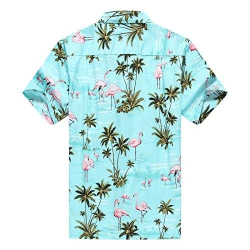 Hecho en Hawaii Camisa hawaiana de los hombres Camisa hawaiana Flamencos Rosados Allover en Turquoise