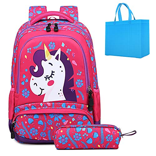 School Backpack for Girls Unicorn Backpack for Kids School Bag with Pencil Case Lightweight Student Bookbags 2 in 1 Sets Rose Red - Girls School Backpack