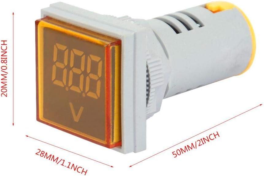 LED-Voltmeter-Signalleuchte Digitalanzeige AC-Spannungsmesser-Anzeigelampenpr/üfger/ät Digitale Spannungsanzeige Gelb