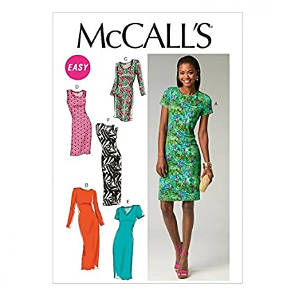 ade97eedfd0 McCalls Ladies Easy Sewing Pattern 6886 Simple Jersey Dresses:  Amazon.co.uk: Kitchen & Home