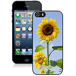 New Custom Designed Cover Case For iPhone 5S With Sunflower Flower Mobile Wallpaper 5 Phone Case