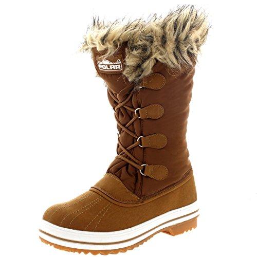 Polar Products Damen Nylon warme Ente Regen Schnee im Freien hohe Winter Regen Stiefel Bräunen