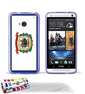 """Carcasa Flexible Ultra-Slim HTC ONE / M7 de exclusivo motivo [Virginia Occidental Bandera] [Violeta] de MUZZANO  + 3 Pelliculas de Pantalla """"UltraClear"""" + ESTILETE y PAÑO MUZZANO REGALADOS - La Protección Antigolpes ULTIMA, ELEGANTE Y DURADERA para su HTC ONE / M7"""