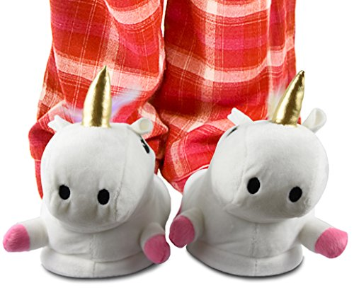 Unicorn Slippers Shoes Plush Novelty Adult Animal Slipper- One Size Fits Most