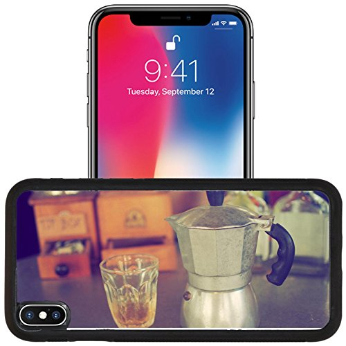 Luxlady Apple iPhone x iPhone 10 Aluminum Backplate Bumper Snap Case IMAGE ID: 34010862 coffee maker espresso machine on the table wood vintage color