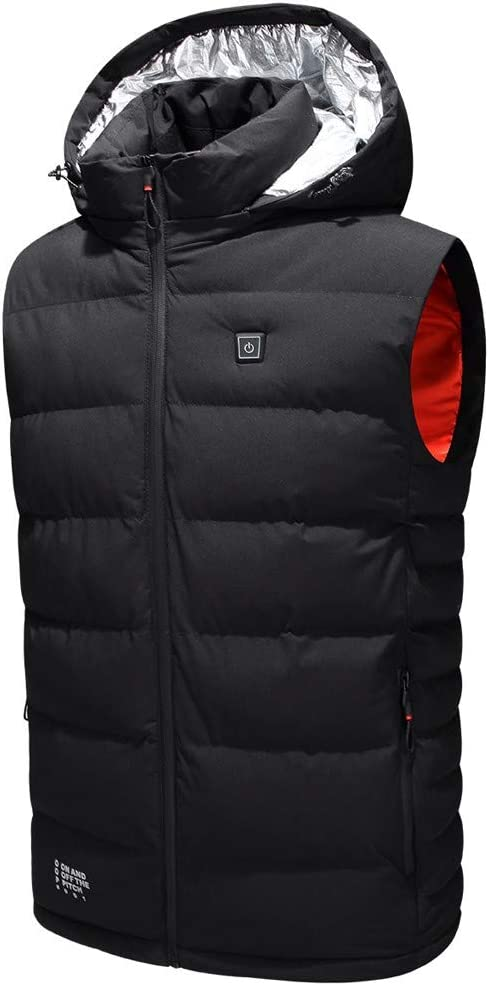 MIS1950s Men's Electric Heated Jacket Adjustable 5V Battery USB Charging Heating Clothing Warm Down Jacket Sleeveless Vest Hooded Coat