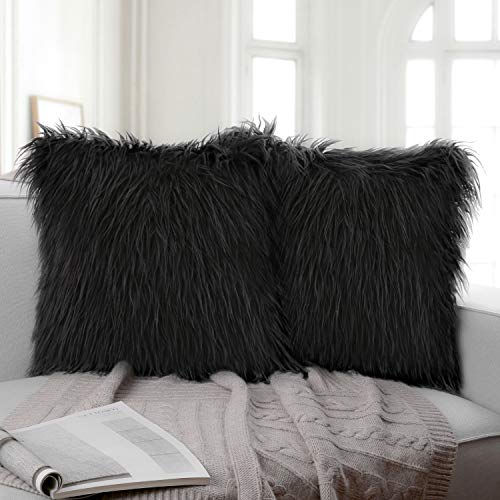 Ashler Pack of 2 Decorative Luxury Style Black Faux Fur Throw Pillow Case Cushion Cover 22 x 22 Inch 55 x 55 cm