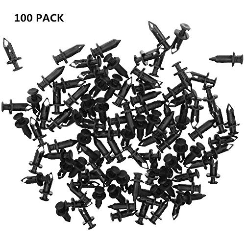 Nylon Bumper Fastener Rivet Clips Push-Type Clips Fender Retainer Clips Auto Body Clips 8mm for Suzuki King Quad Vinson ATV Honda Acura Honda Rancher Kawasaki Polaris (100Pcs)
