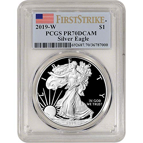 2019 W American Silver Eagle Proof First Strike Flag Label $1 PR70 PCGS DCAM