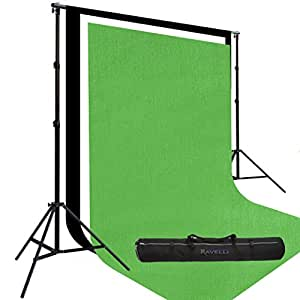 Three Prism By Ravelli 9' X 15' Cotton Muslin Backdrops and The Ravelli Full Size 10' x 12' Background Stand Set