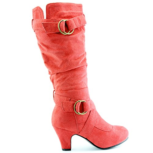 Dailyshoes Womens Slouchy Mid Kalf Strappy Boots Met Enkel En Top Bandjes - 2 Hak Fashion Boots Red Sv
