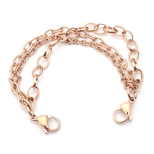 Medical ID Rose Gold Stainless Triple Strand Interchangeable Bracelet Average Adult