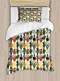Ambesonne Cactus Twin Size Duvet Cover Set, Mexican Succulent in Pots Botanical Themed Illustration House Plant Arrangement, Decorative 2 Piece Bedding Set with 1 Pillow Sham, Multicolor