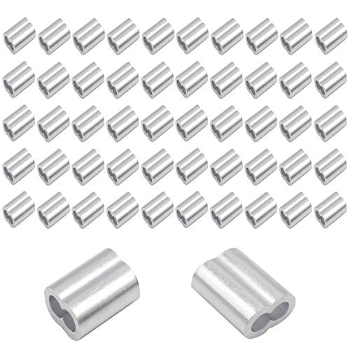 (CCTVMTST 50 Pieces Aluminum Crimping Loop Sleeves Crimp for 3/16