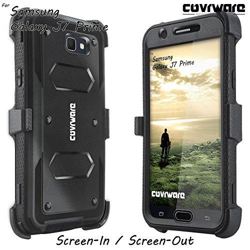 Samsung Galaxy J7 Prime/J7 Sky Pro/J7 Perx/J7 V 2017/J7 2017 Case, COVRWARE [Aegis Series] w/Built-in [Screen Protector] Heavy Duty Full-Body Rugged Holster Armor Cover [Belt Clip][Kickstand], Black by COVRWARE (Image #4)